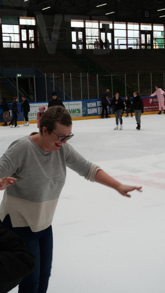Woman on ice rink