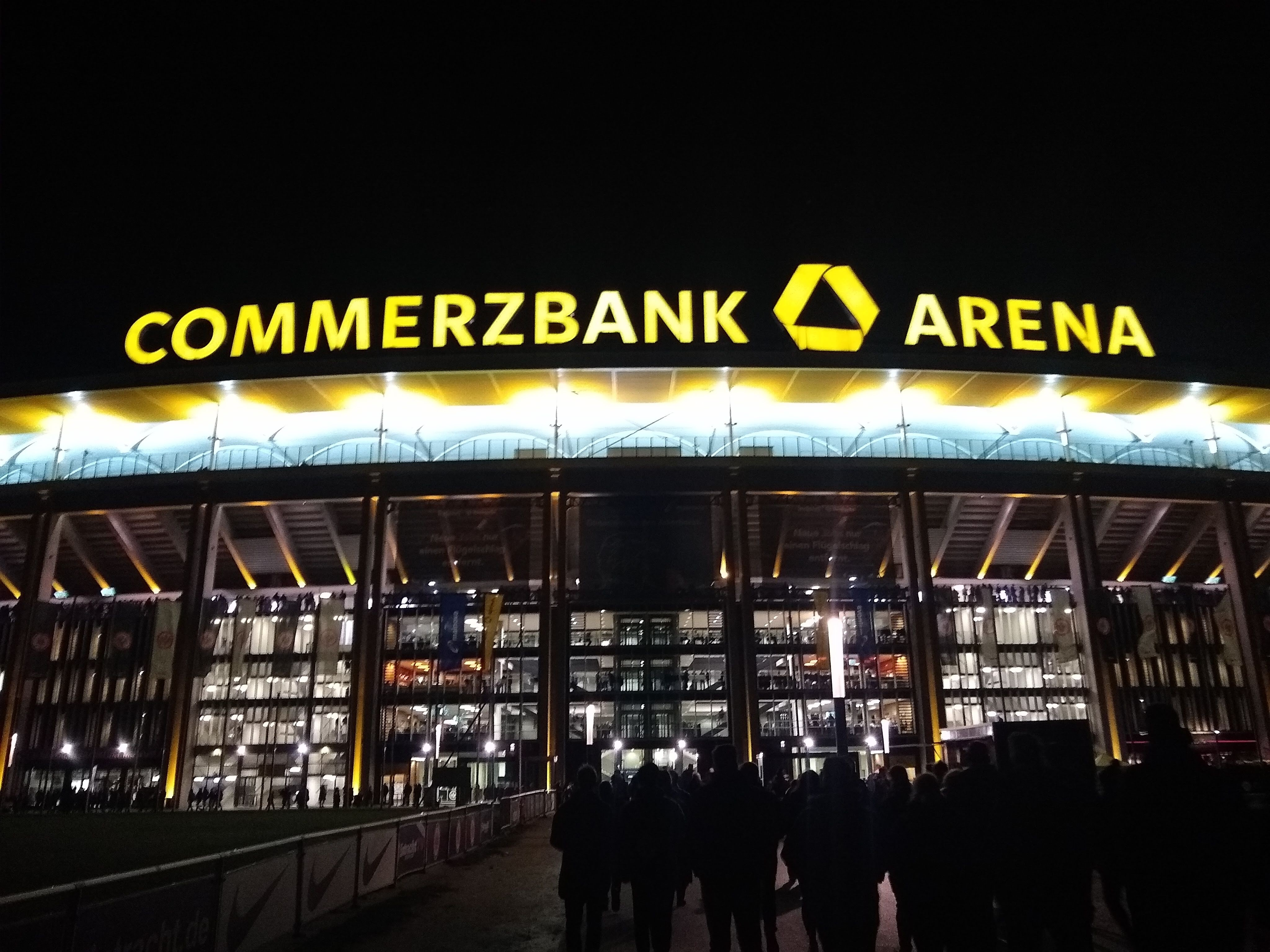 Commerzbank arena football stadium at night
