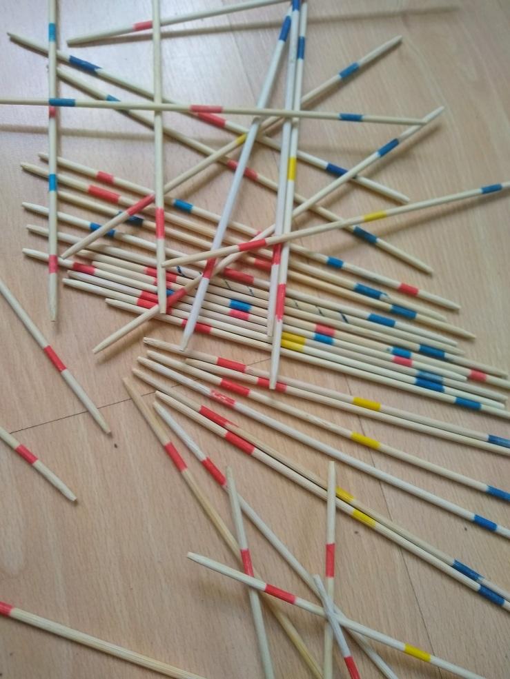 Mikado sticks on floor